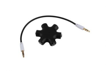 6 Way 3.5mm Audio Earphone Headphone Headset Splitter & Auxiliary Cable MP3 Black