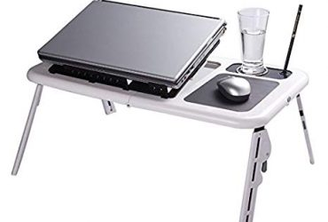 Laptop Table Stand with Cooling Fan – Black and White