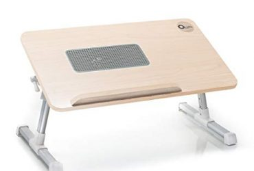 Laptop Table with Cooling Fan – Rose Gold & Blue