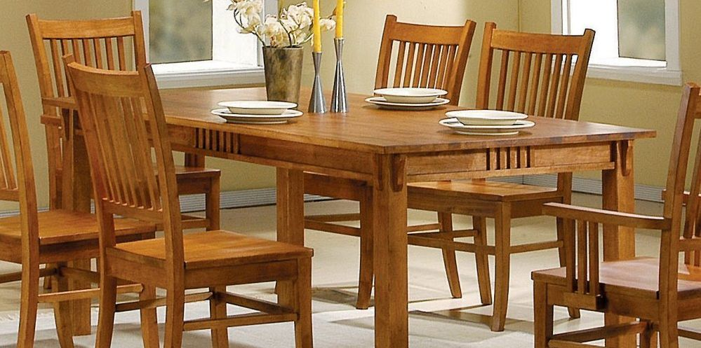 Oak wood dining table +6 chair