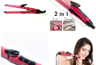 2 In 1 Hair Straightening and Curling Hair Beauty Set – Pink