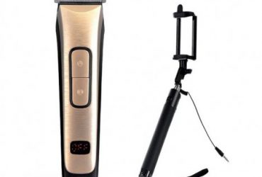 Combo Pack Kemei KM-236 LED Display Rechargeable Clipper and Selfie Stick