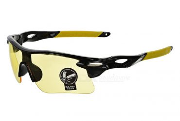 OULAIOU UV400 Plastic Frame PC Lens Sunglasses – Black + Red + Yellow